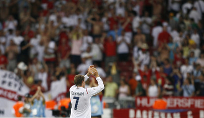 England's David Beckham acknowledges crowd after England defeated Ecuador in second round World Cup 2006 soccer match in Stuttgart
