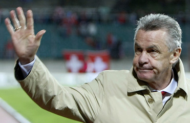 Switzerland's headcoach Hitzfeld reacts after World Cup 2010 qualifying soccer match victory over Luxembourg