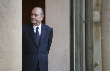 French President Chirac waits for guests at the Elysee Palace