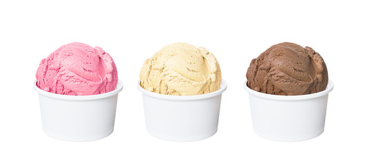 Neapolitan ice cream scoops in white cups of chocolate, strawberry, and vanilla flavours isolated on white background (clipping path included)