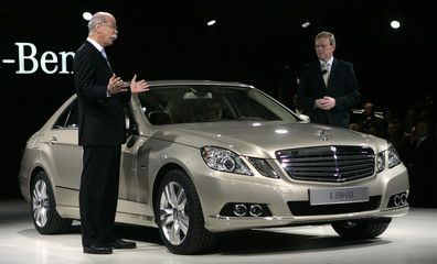 Dr. Dieter Zetsche, Chairman of the Board of Management of Daimler AG and Dr. Klaus Maier, Head of sales and marketing talk during the North American International Auto Show in Detroit