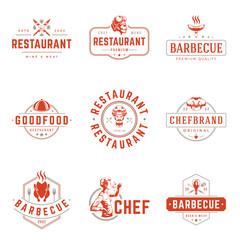 Restaurant logos templates vector objects set.
