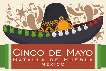 Festive Design with Mexican Mariachi Hat for Cinco de Mayo, Vector Illustration