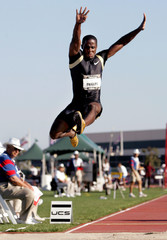 Dwight Phillips leaps to second place in high jump at USA Track in Carson, California.