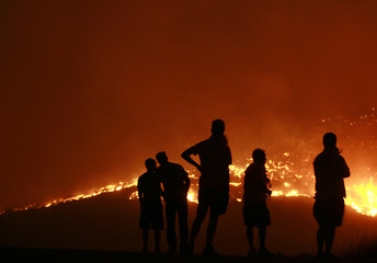 Residents watch a forest fire in the Anthousa suburb of Athens