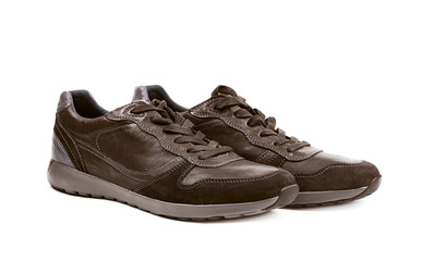 Casual brown leather shoesisolated