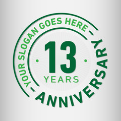 13 years anniversary logo template. Vector and illustration.