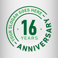 16 years anniversary logo template. Vector and illustration.