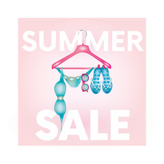 """Ready design """"Summer Sale"""" with a hanger with a swimsuit, glasses and slaps. Vector illustration for shops. Business and shopping. Summer."""