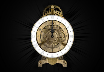 antique brass clock 3d rendering