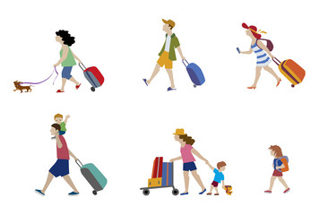 Vector illustration of people and family traveling on vacation. Characters set.