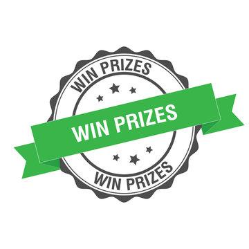 Win prizes stamp illustration