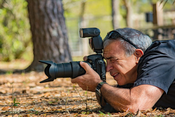 Male Photographer Shooting Camera Outdoors