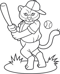 cartoon puma a baseball player is going to hit the ball