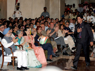 Bollywood actor Shah Rukh Khan arrives to receive an award at a ceremony in New Delhi.
