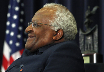 South African Archbishop Emeritus Desmond Tutu listens to remarks during a ceremony honoring him with the J. William Fulbright Prize for International Understanding Award in Washington