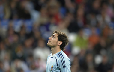 Real Madrid's goalkeeper Casillas gestures after letting in a goal during their Spanish first division soccer match against Getafe in Madrid