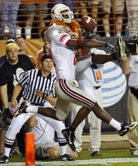 Texas wide receiver Sweed and Ohio State cornerback Jenkins battle for a ball in Austin, Texas