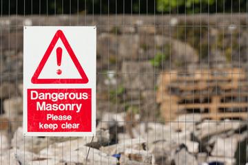 dangerous masonry sign