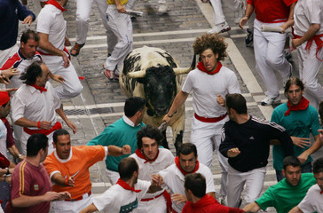 Runners lead a bull to the bullring during the fifth running of the bulls in Pamplona