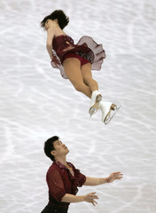 China's Dan and Hao perform during the pairs short program event at the World Figure Skating Championships in Tokyo
