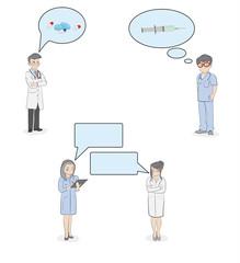 A diverse set of medical people. vector illustration.