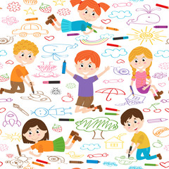 seamless pattern with child art - vector illustration, eps