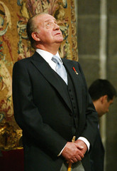 Spain's King Juan Carlos watches the 'Botafumeiro' in the Cathedral of Santiago de Compostela.