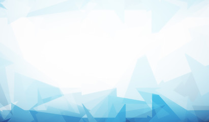 White backdrop with blue polygonal pattern