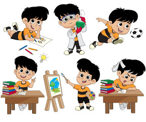 Back to school.A cute kid drawing a picture,doing experiments with liquids in chemistry lab,playing soccer,having an idea,painting a picture,doing a homework