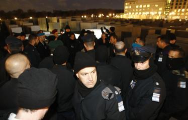 Israeli army soldiers visit the Holocaust memorial in Berlin