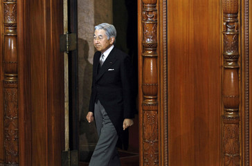 Japan's Emperor Akihito declares an ordinary session of the parliament open in Tokyo