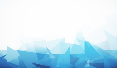 White background with blue polygonal pattern