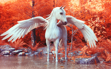 Mythical Pegasus posing in an enchanted forest