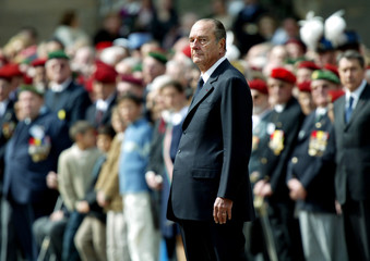 FRENCH PRESIDENT CHIRAC ATTENDS A CEREMONY AT INVALIDES IN PARIS.