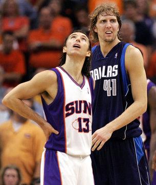 Mavericks' Nowitzki walks to free throw line as Suns' Nash looks up at scoreboard in Phoenix