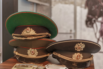 Typical russian military hats with badges