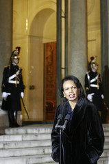 US Secretary of State Condoleezza Rice speaks in the courtyard at the Elysee Palace in Paris