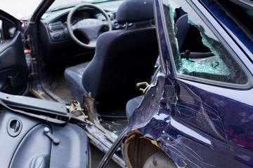 wrecked car close-up