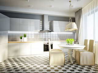 Modern Urban Contemporary Studio open living room, dining room and kitchen