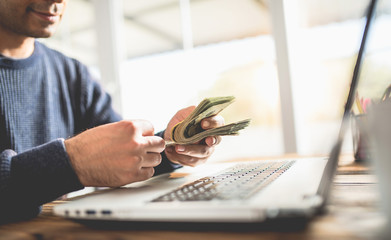 Make Money Online Concept, Man Counting His Cash That He Earned On Internet
