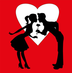 Vector illustration of lovers silhouettes on red background with heart, silhouette innamorati su sfondo rosso con cuore vettoriale