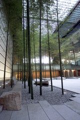 The Japanese-style courtyard including bamboo trees is shown at the new Prime Minister's Official Re..