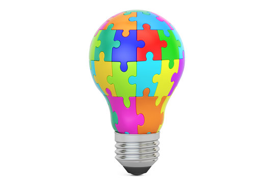Idea concept, lightbulb from puzzle pieces. 3D rendering