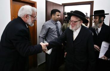 Palestinian Parliament Speaker Aziz Dweik (L) meets with a delegation of anti-Zionist Ultra-Orthodox..