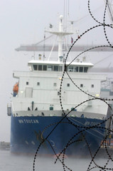 The toxic waste ship MN Toucan is seen upon its arrival in Le Havre