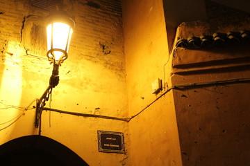 Building in the medina of Marrakesh at night