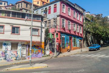 VALPARAISO, CHILE - MARCH 29, 2015: Colorful houses on hills in Valparaiso, Chile