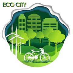 concept of eco and earth day. paper art style. Inscription - eco city