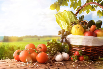 Fruits and vegetables on table and crop landscape background lateral